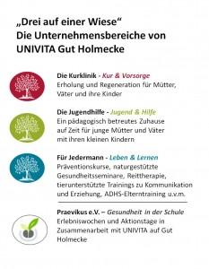 UNIVITA - die Unternehmensbereiche UNIVITA Gut Holmecke - Grafik von Dorothee Timm