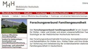 QM Kurklinik UNIVITA Gut Holmecke mit Medizinische Hochschule Hannover Forschungsverbund Familiengesundheit